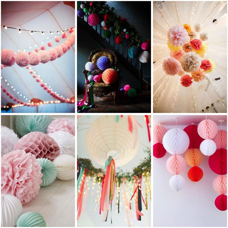 decoración con pompones de papel