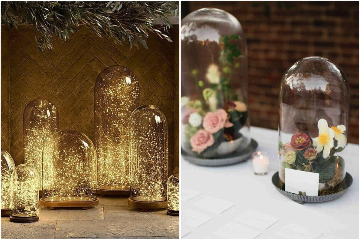 decoración con campanas de cristal
