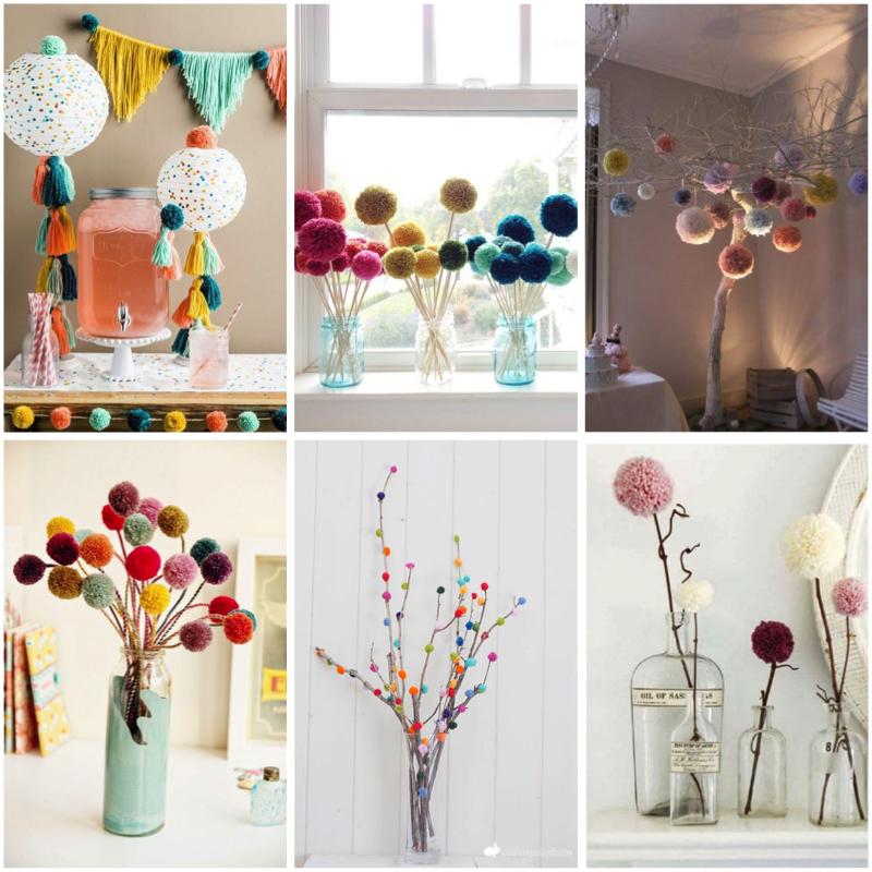 decoración con pompones de lana